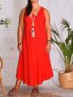 Leontine, robe en lin Lagenlook rouge face