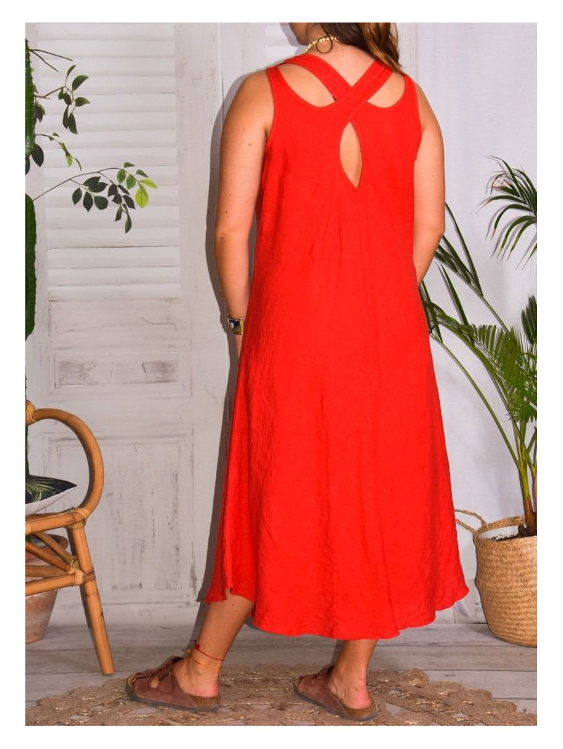 Leontine, robe en lin Lagenlook rouge dos