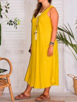 Leontine, robe en lin Lagenlook jaune profil