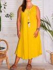 Leontine, robe en lin Lagenlook jaune face