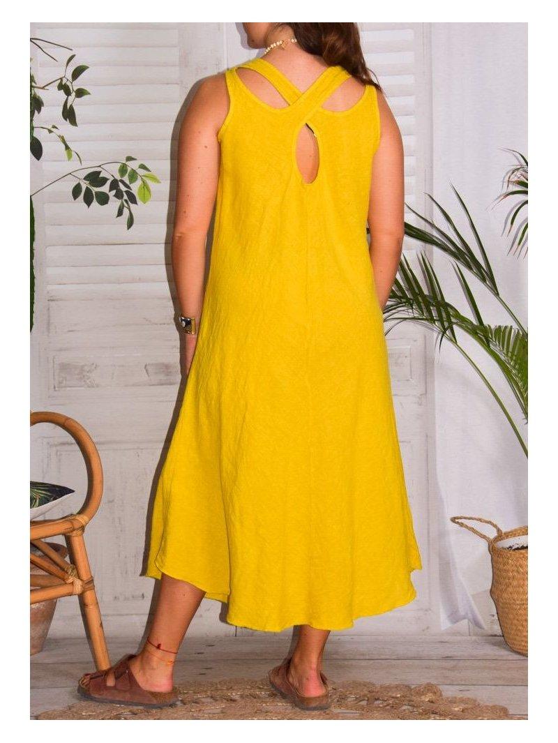 Leontine, robe en lin Lagenlook jaune dos