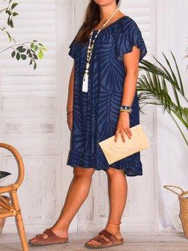 Capucine, robe jean, grande taille, Lagenlook marine coté