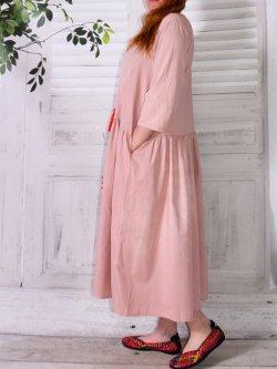 Majorque, robe romantique, marque Lagenlook - rose