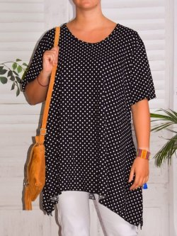Sally, top viscose pois, grande taille