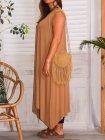 Sofia robe viscose, grande taille camel profil