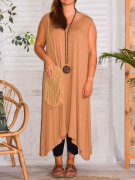 Sofia robe viscose, grande taille camel face