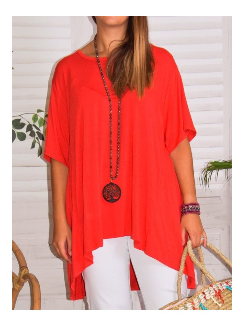 Paula, top viscose, grande taille rouge face zoom