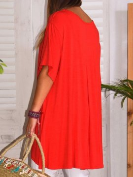 Paula, top viscose, grande taille rouge dos zoom