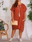 Sonia, robe tunique lin, Lagenlook brique face