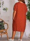 Sonia, robe tunique lin, Lagenlook brique dos
