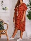 Sonia, robe tunique lin, Lagenlook brique profil