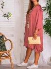 Stella, robe fluide, Lagenlook rose profil