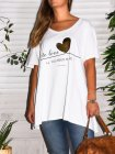 T-shirt Love, grande taille, Lagenlook blanc zoom face