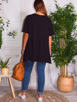 T-shirt Love, grande taille, Lagenlook marine dos