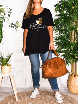 T-shirt Love, grande taille, Lagenlook noir face