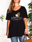 T-shirt Love, grande taille, Lagenlook noir face zoom