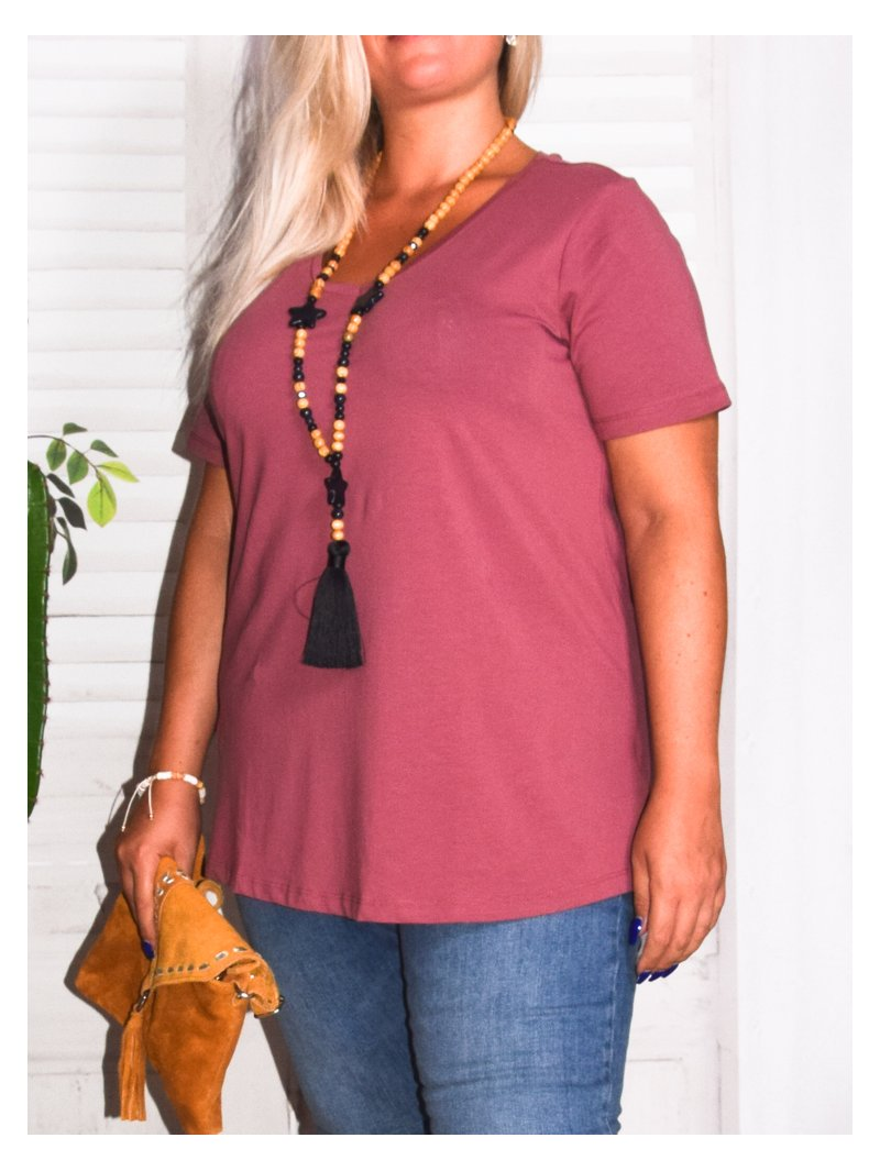 T-shirt l'indispensable, marque Zizzi rose zoom profil