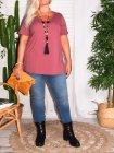 T-shirt l'indispensable, marque Zizzi rose coté
