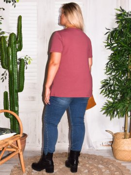 T-shirt l'indispensable, marque Zizzi rose dos