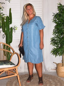 Robe chemise jean grande taille